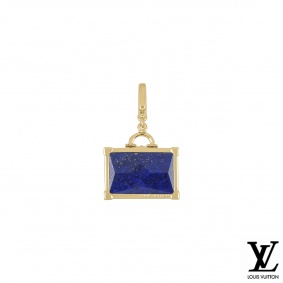 Louis Vuitton Yellow Gold Lapis Lazuli Suitcase Charm